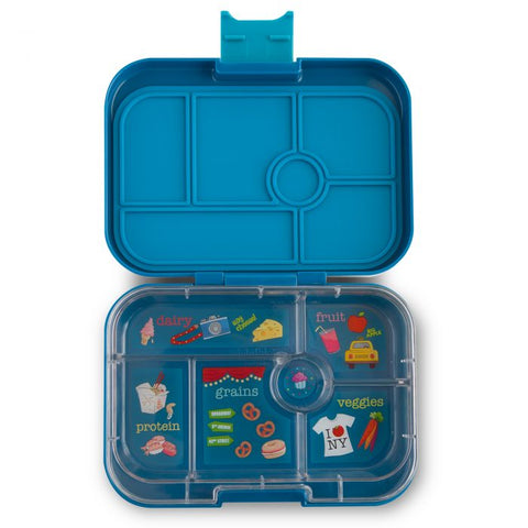 Yumbox 6 compartment Empire Blue Open
