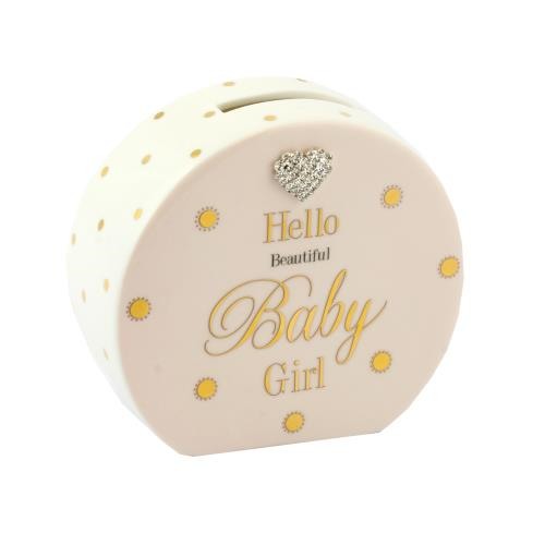 Mad Dots - Baby Girls Keepsake - Porcelain Money Box - Pink