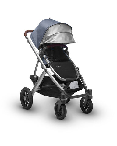 2017 Uppababy Vista Pram with Leather Henry Expanded Sun Canopy
