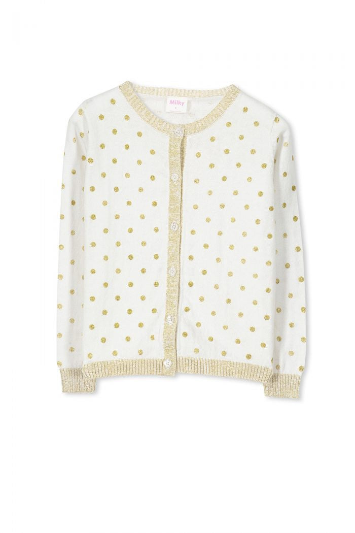 Girls Milky Gold Spot Cardigan