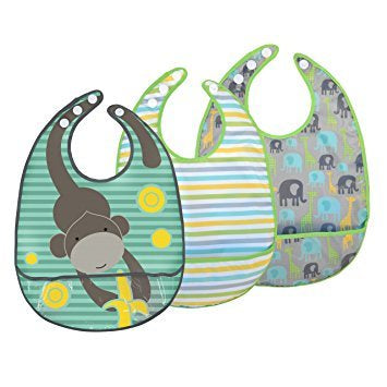 JJ Cole Baby Boys 3pk Safari Feeding Bibs