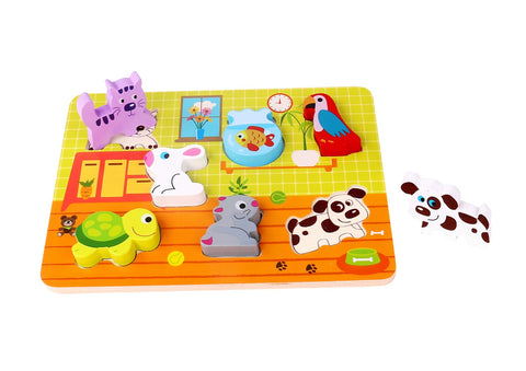 Kaper Kidz Chunky Wooden Animal Puzzle Pets