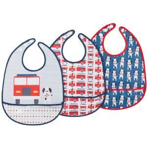 JJ Cole Baby Boys 3pk Fire Dog Feeding Bibs