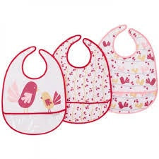 JJ Cole Baby Girls 3pk Bib Set Chickadee