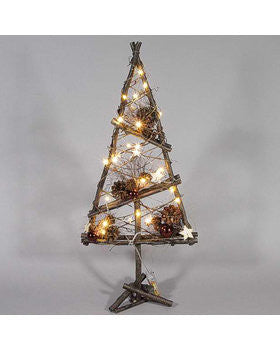 wooden tree natural christmas decorations with led lights room decor
