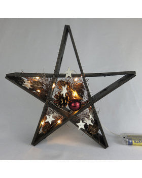 Wooden Star Black Christmas Decorations with LED Lights