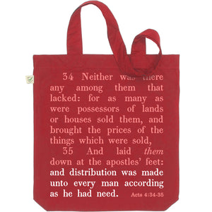 Acts 4: 34-35 Tote Bag