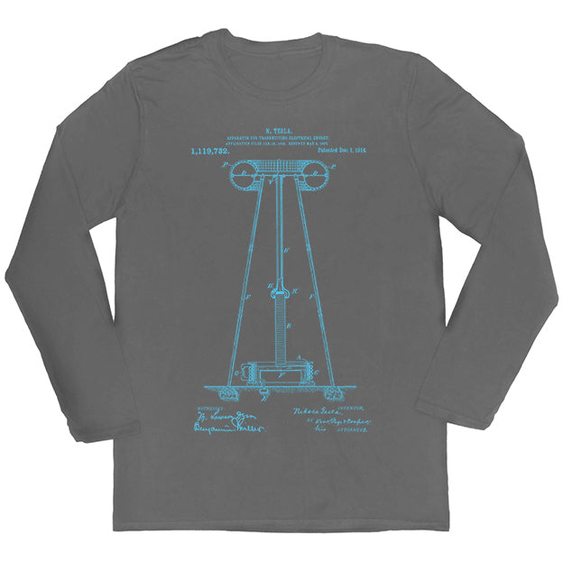 Tesla's Coil Patent Long-sleeved Unisex T-shirt