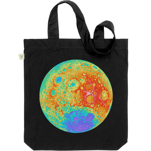 Topographical Moon Map Tote Bag