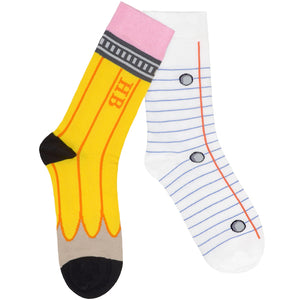 HB Pencil And Lined Paper Socks