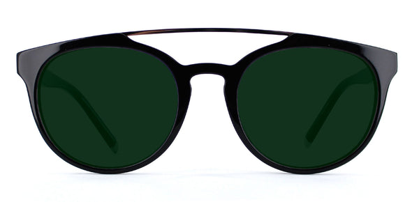 Black with Classic Green Lenses