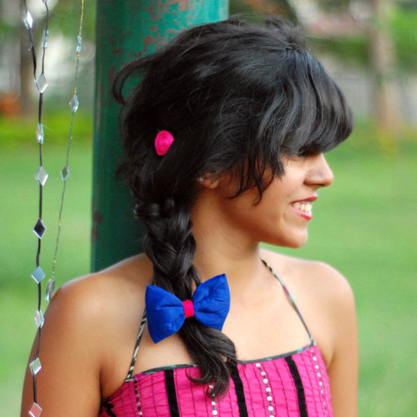 Colourful Rain Blue Hair Tie - Pigtails and Ponys  - 2