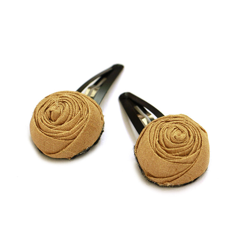 Gold Roses Clips - Pigtails and Ponys - Hair Clip - Handcrafted Accessories