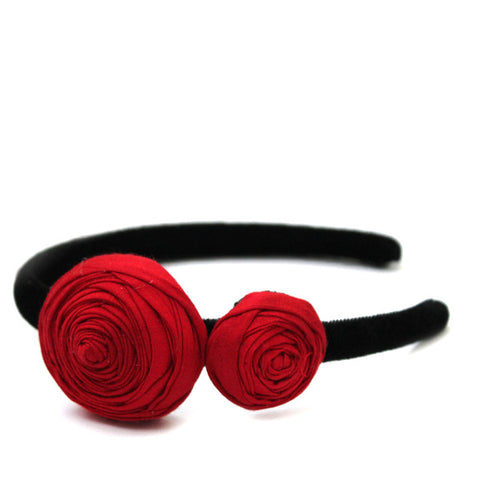 Little Red Roses  Headband - Pigtails and Ponys