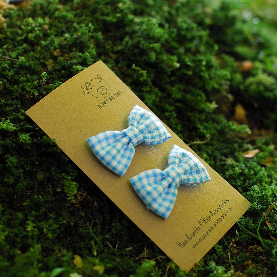 Gingham Blues - Pigtails and Ponys - Hair Clip - Handcrafted Accessories