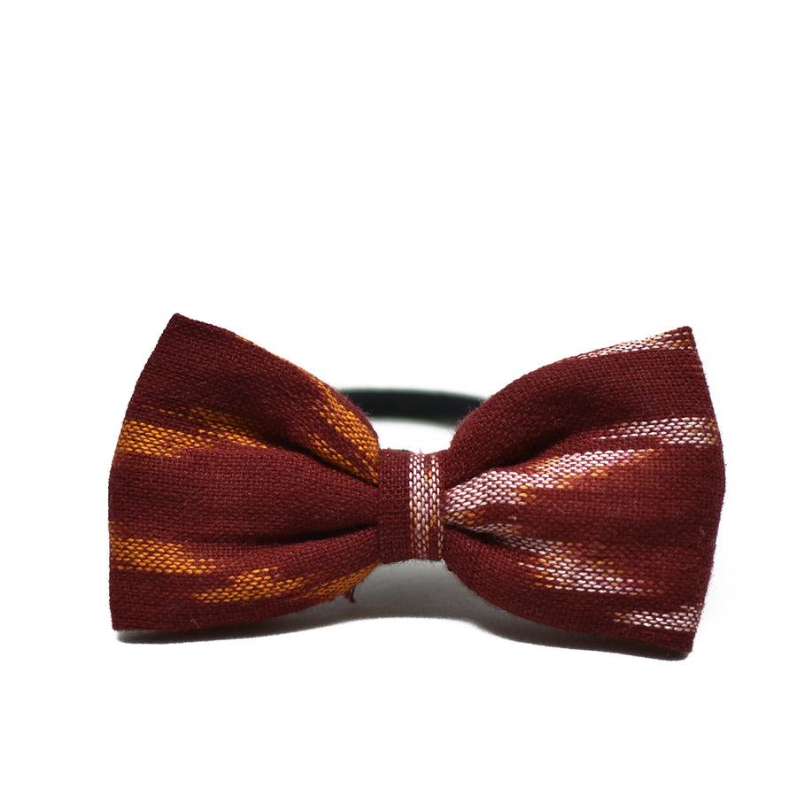 Red Ikat Bow Hair Tie