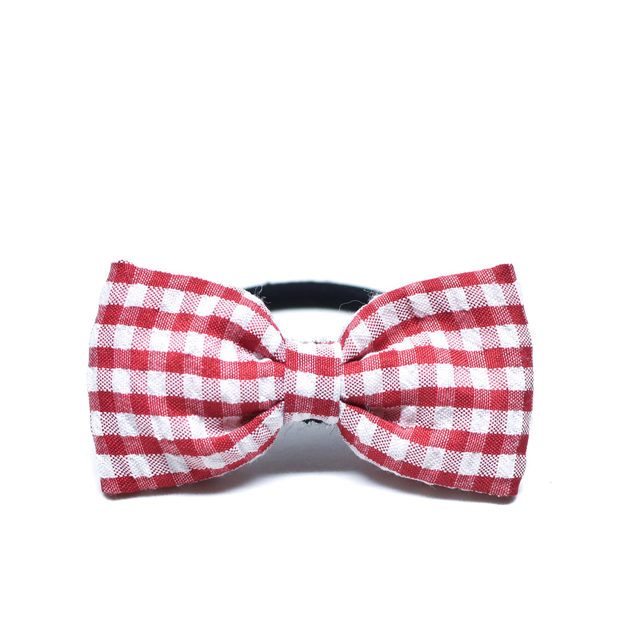 Red Gingham Bow Hair Tie