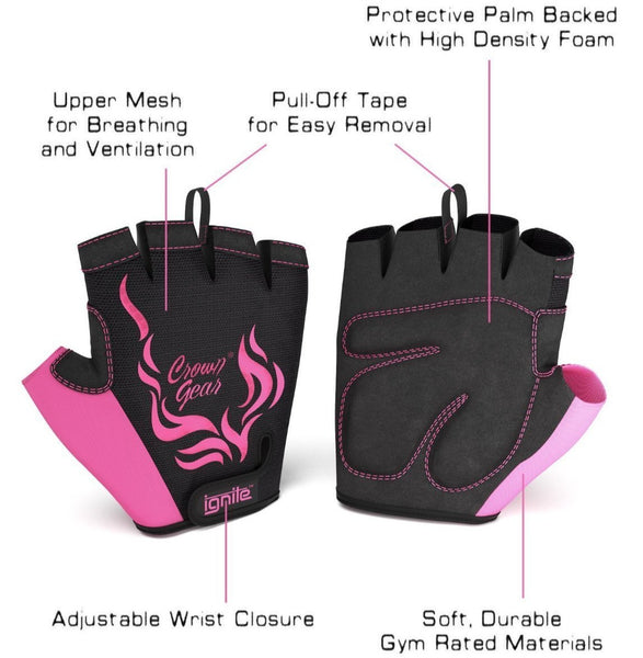 Ignite - Women's Power Weightlifting Gloves with Stretch Mesh and Adjustable Wrist Closure and Protective Palm