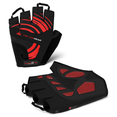Crown Gear - Cyclone Men's Biking Cycling Gloves with Adjustable Wrist Closure and Pull-Off Tapes
