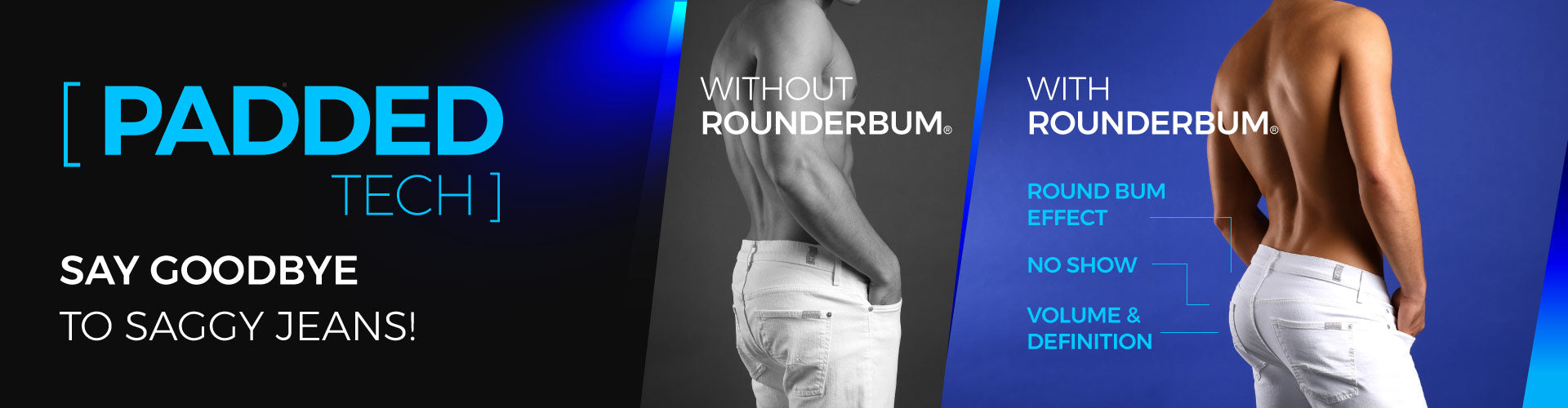 rounderbum padded tech collection underwear for men