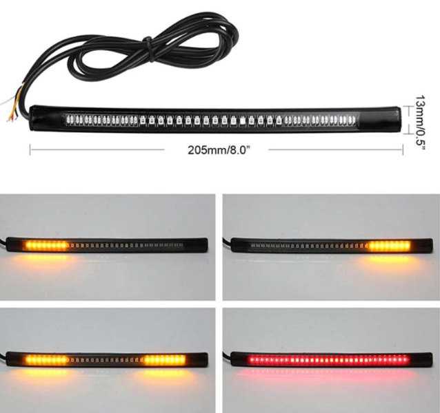 Flexible LED Brake Turn Signal Light Strip License Plate Tail