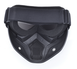 [HOT SALE] Pilot Full Face Mask with CHROME goggles protection *Shark Style*