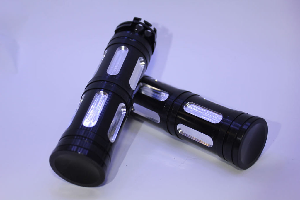 "Black CNC 1"" Handle Grips for Harley Davidson"