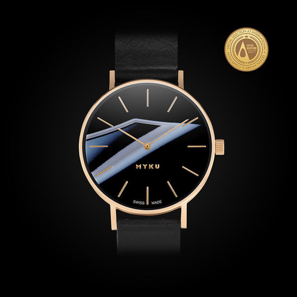 MYKU Black Onyx Gold Watch