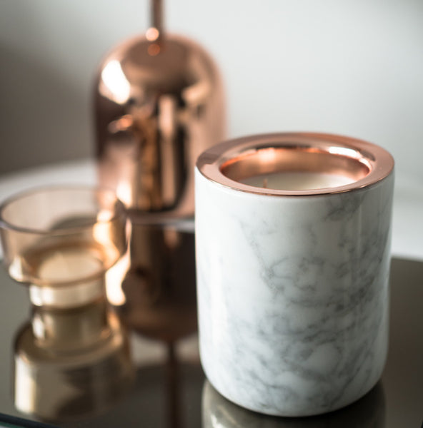 3) Luxuriate-Carrara Marble Candle