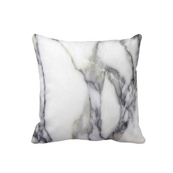 "4) Gray & White Marble Throw Pillow Cover, Faux Stone Marbled Print 16/20"" Pillows or Covers"