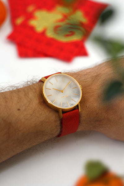 MYKU White Marble Gold Watch Chinese New Year Red Strap