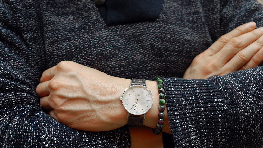 MYKU White Marble Steel Watch with Croco Grain Leather Strap