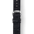 MYKU Croco Grain Premium Leather Strap with Butterfly Clasp Stainless Steel Top - slider