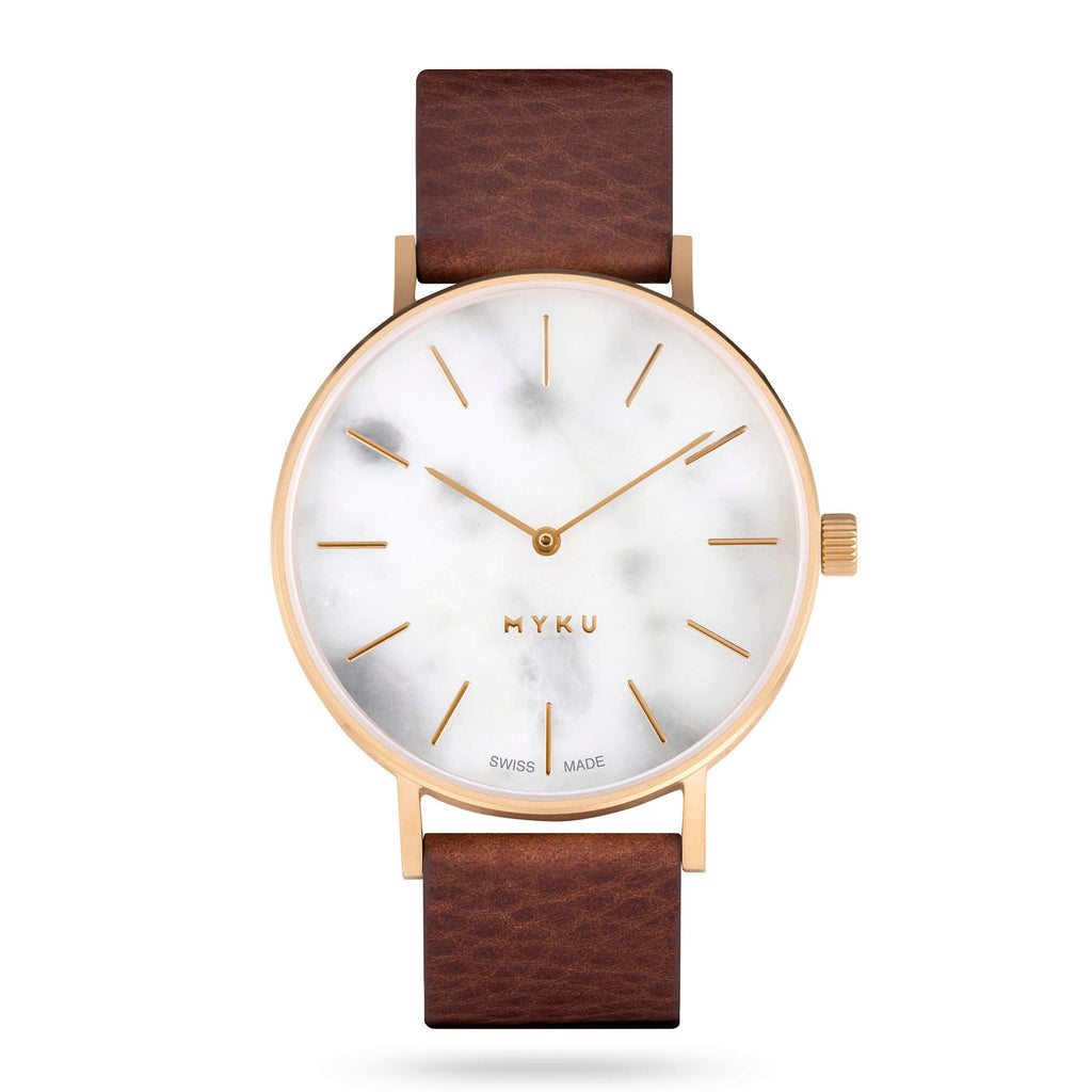 MYKU Watch - White Marble Gold