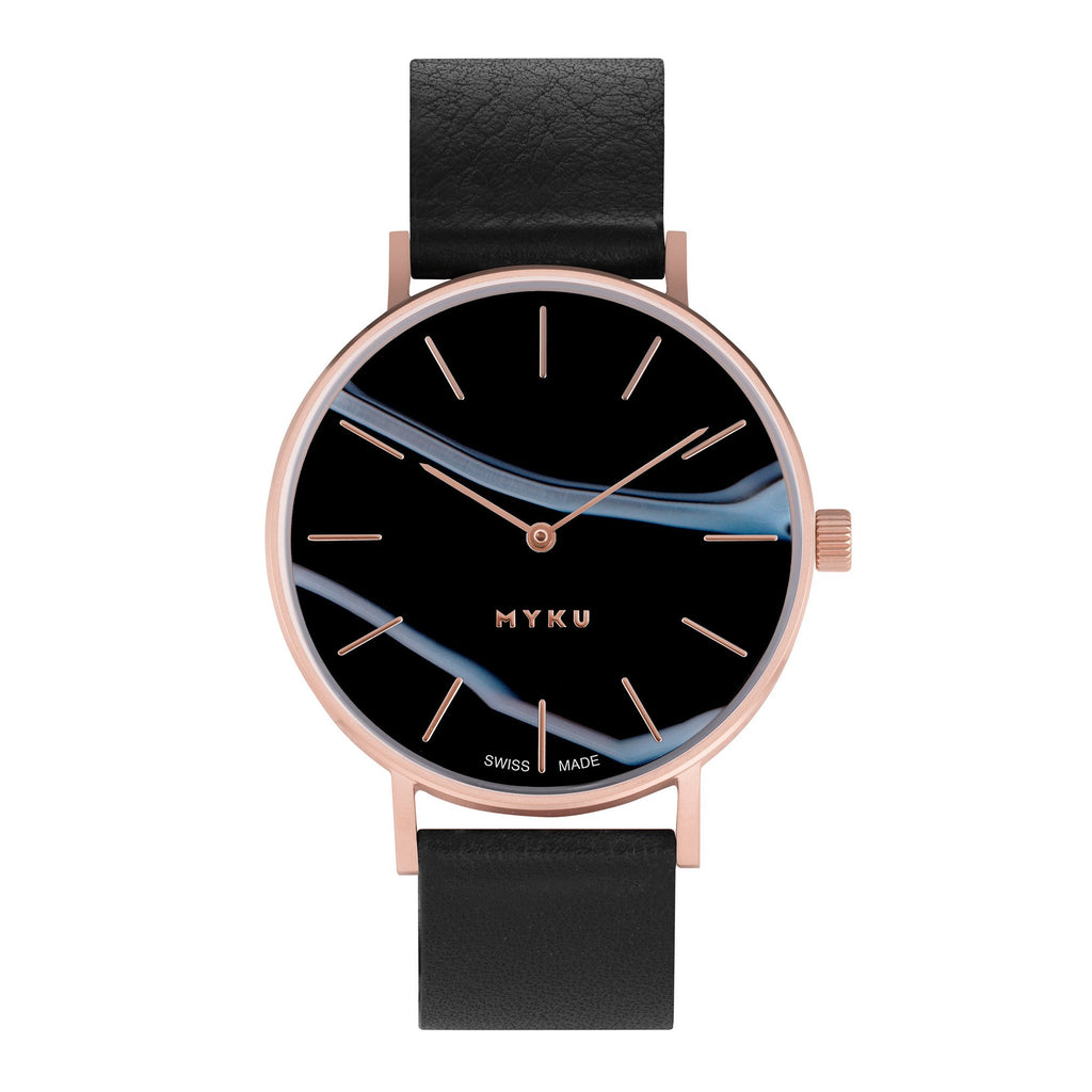 MYKU Black Onyx Rose Gold Watch BO152
