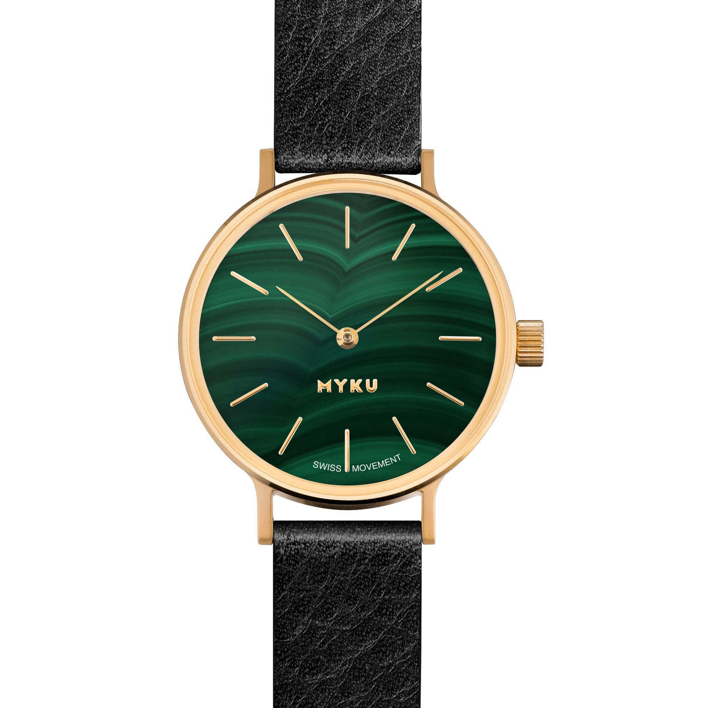 MYKU Malachite Gold 32mm Watch
