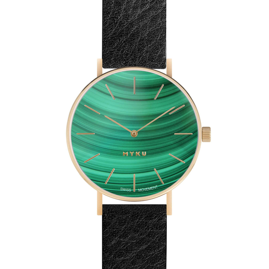 MYKU Malachite Gold 38mm Watch