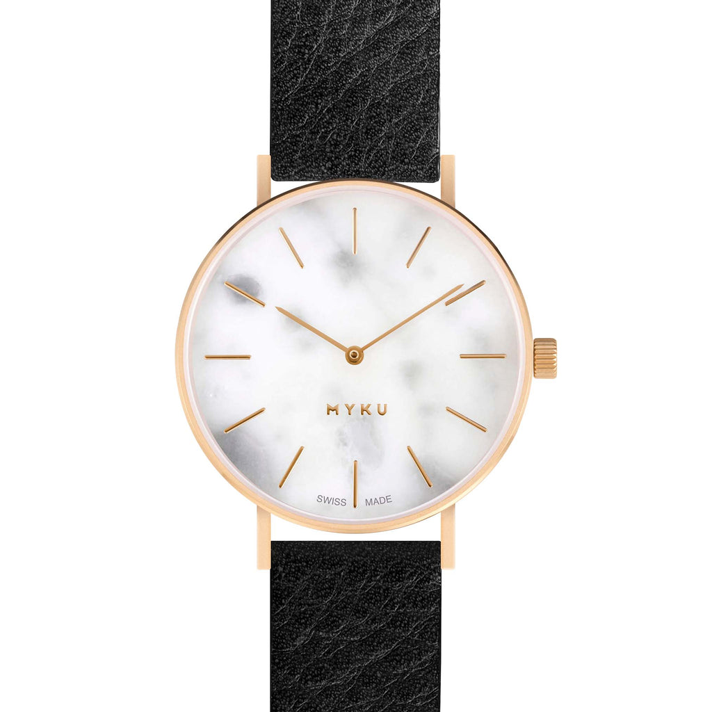 MYKU White Marble Gold 38mm Watch