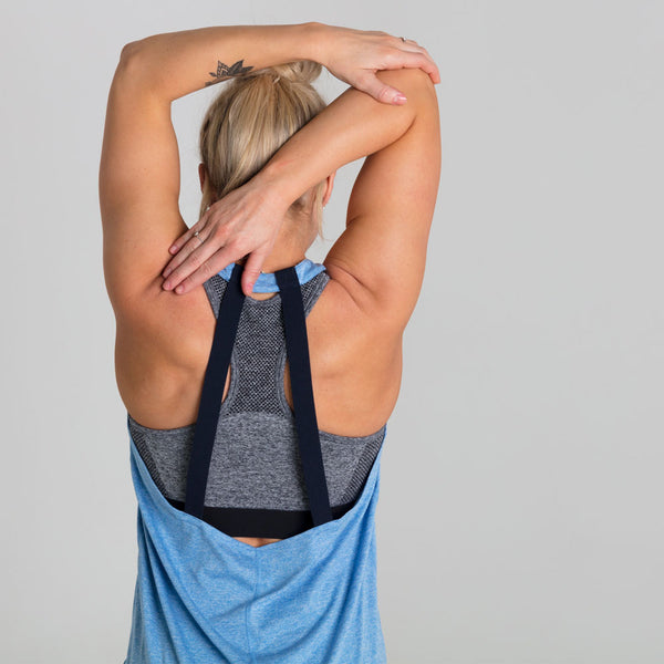 Icon Bold | Women's Open Back Training Tank | Soft Blue