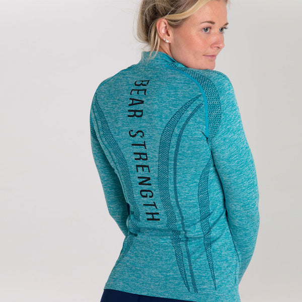 Origins | Women's Seamless 1/2 Zip Training Pullover | Marl Blue