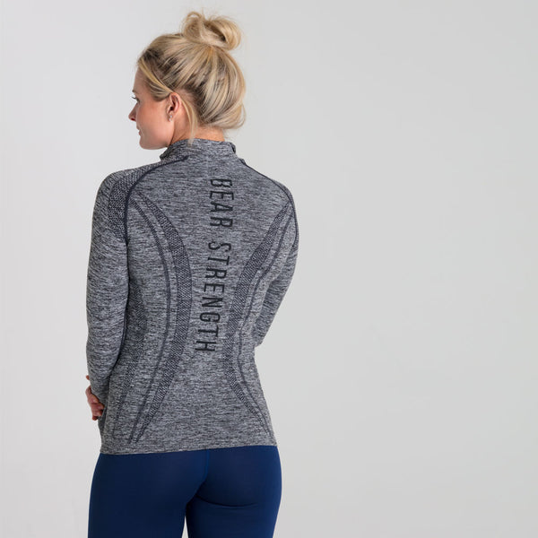 Origins | Women's Seamless 1/2 Zip Training Pullover | Marl Grey
