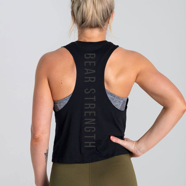 Origins | Women's Cropped Training Tank | Black & Grey