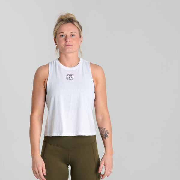 Origins | Women's Cropped Training Tank | White