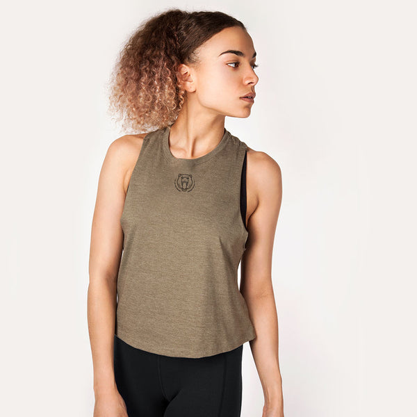 Origins | Women's Cropped Training Tank | Olive