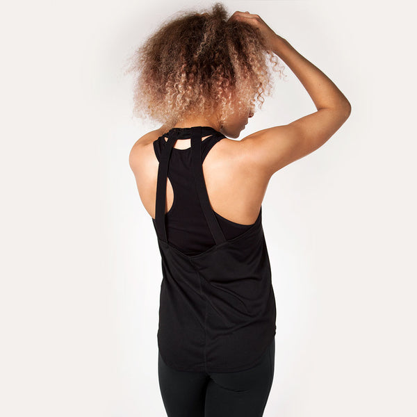 Icon Bold | Women's Open Back Training Tank | Black