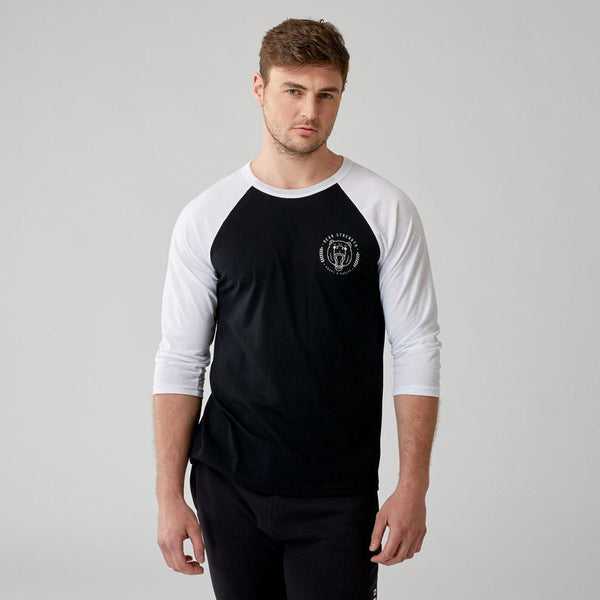 United by Strength - 3/4 Sleeve Raglan - Black/White
