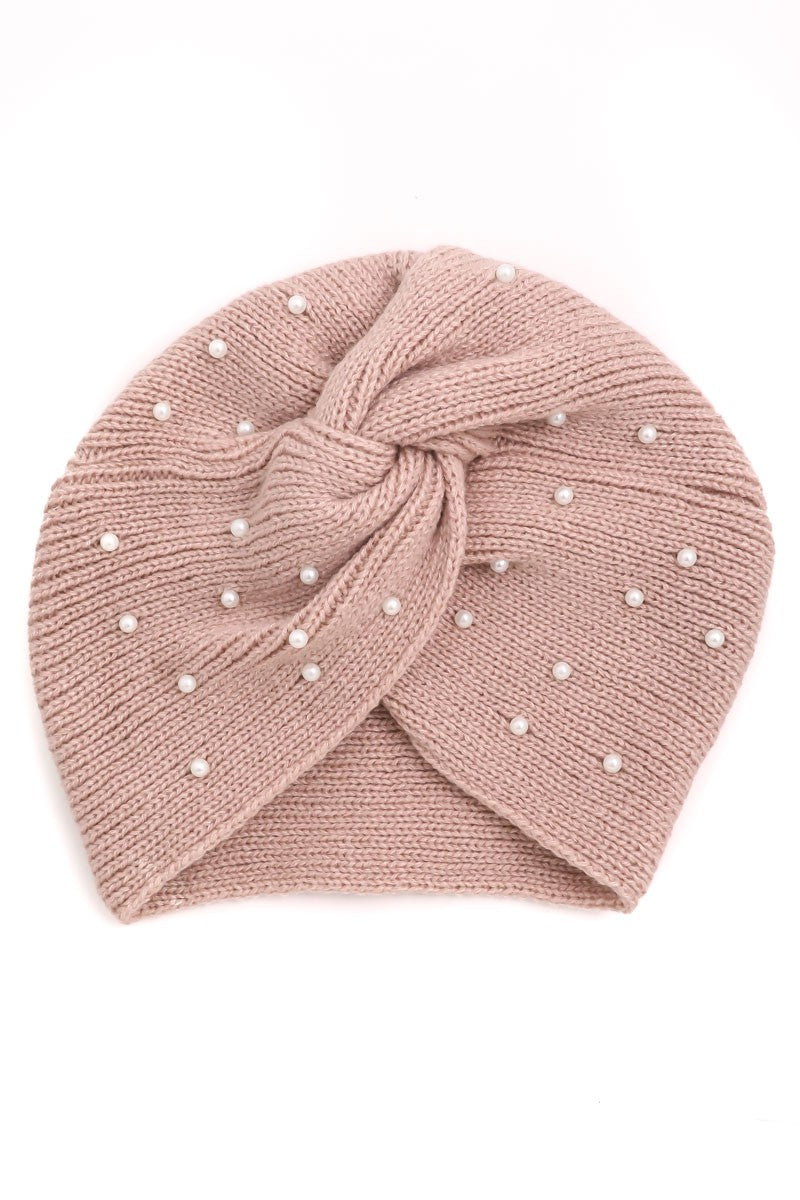 Pearl Embellished Twist Beanie | Hats