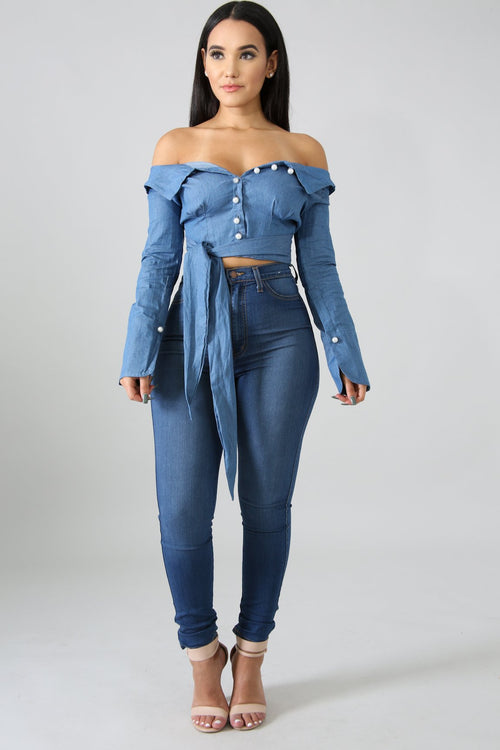 Off Shoulder Pleated Swirl Pearl Top