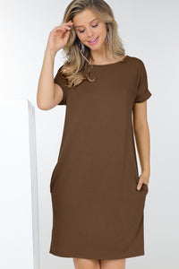New Arrivals  - So Basic Tee Shirt Dress w/ Pockets