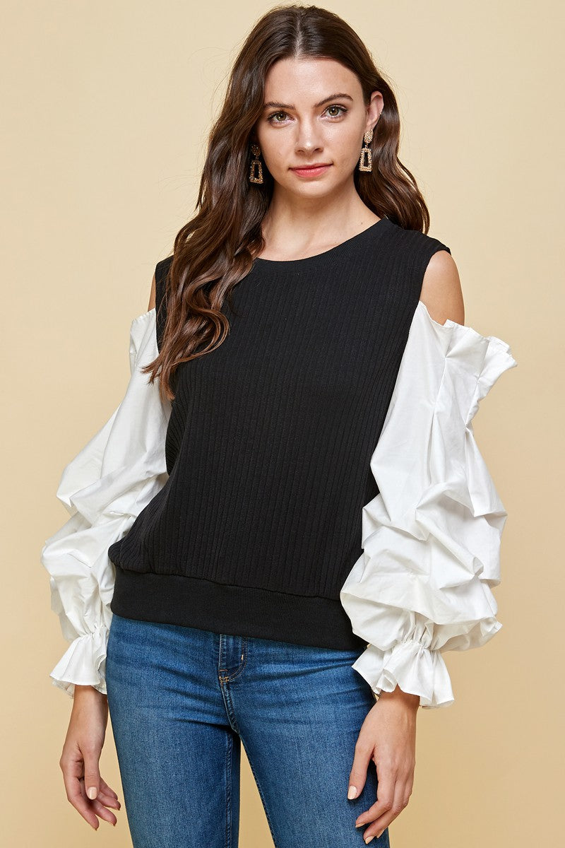 New Arrivals - Puff Knit Open Shoulder Top